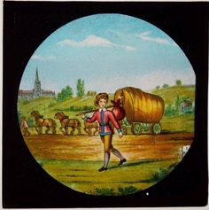 DICK WHITTINGTON - SET OF 12 ANTIQUE MAGIC LANTERN SLIDES c1880