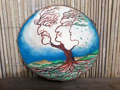 """Obraz+""""Moudrost+předků""""+Obraz+na+dřevě+""""Moudrost+předků""""+30cm+v+průměru+a+3+cm+v+hloubce.+Akvarelové+barvy. Globe, Speech Balloon"""