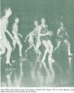 1951 Oregon State-Oregon basketball game in Corvallis. Jack Keller has the ball. From the 1951 Oregana (University of Oregon yearbook). www.CampusAttic.com