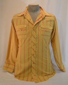 Vintage 1970s Yellow & Red Pearl Snap Western H Bar C