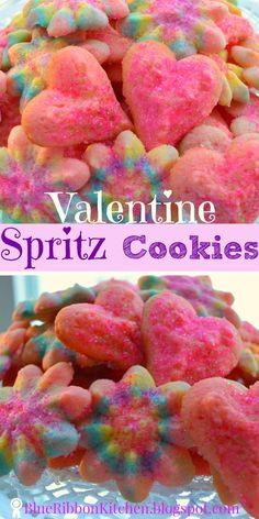 Blue Ribbon Kitchen: Cherry Spritz Cookies.  The perfect sweet treat for your Valentine.  Heart shaped Cherry Sprtiz cookie recipe.