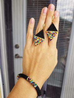 Colorful black beaded crochet bracelet, seed beadcrochet bracelet rope, beaded bangle, beaded jewelr