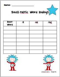 word endings (-s, -ed, and -ing)