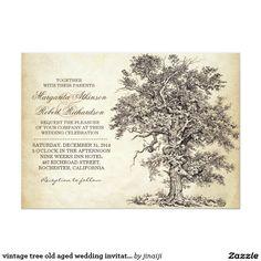 vintage tree old aged wedding invitations