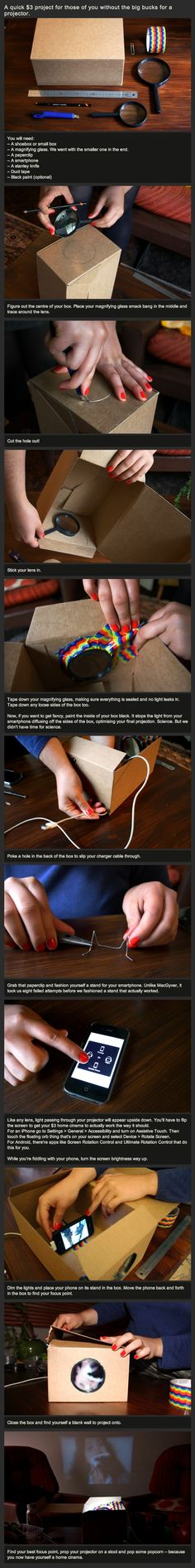 DIY $3 smartphone projector I so want to try this now with my little sister!