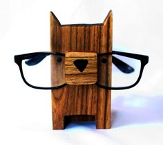 Wooden Dog Eyeglass Stand by GreyMatterGifts on Etsy