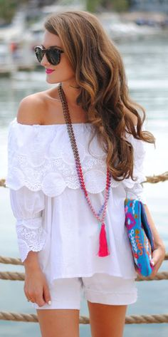 Chicwish White Off Shoulder Long Sleeve Lace Accent Ruffle Blouse by Southern Curls & Pearls