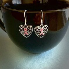 Super Cute!  Great for Cancer Awareness in May!  Sterling Breast Cancer Awareness Earrings by JewelrybyB on Etsy, $5.50