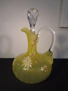 VTG YELLOW VASELINE ART GLASS CRUET ENAMEL HAND PAINTED CUT GLASS STOPPER SIGNED