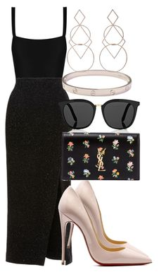 Sem título #2454 by mariandradde on Polyvore featuring Maria Lucia Hohan, Yves Saint Laurent, Cartier, Diane Kordas, Victoria Beckham and Matteau