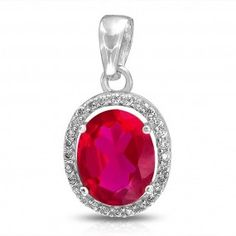 Bling Jewelry Pink Red Ruby Color CZ Oval Pendant 925 Sterling Silver