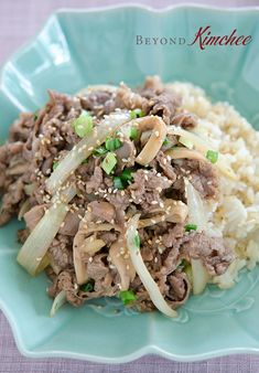 Korean Beef Rice Bowl, the quick version. This is sooo good. I love how accessible she makes Korean food.