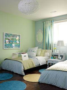 Tween bedroom by Sarah Richardson Design. Room Colors, Bungalow Interiors, Sarah Richardson Design, Bedroom Green, Colorful Kids Room, Home, Room Color Schemes, Tween Room, Home Decor