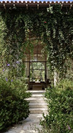Inspiration - creeping flora and Landscaped path of stone and steps. Patio Design, Garden Design, Home And Garden Store, Open Fireplace, Mediterranean Garden, Garden Inspiration, Beautiful Gardens, Landscape Design, Outdoor Gardens