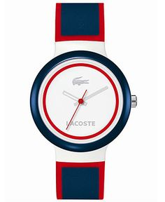 Lacoste Watch, Goa Blue and Red Silicone Strap 40mm 2000692 - Men's Watches - Jewelry & Watches - Macy's