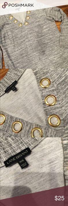 PLUS SIZE SWEATSHIRT ⭐️⭐️⭐️⭐️⭐️ V neck gray sweatshirt with gold circles around the V. New! Size 14-16 Fits fabulous! Sexy! Comfortable Lane Bryant Tops Sweatshirts & Hoodies