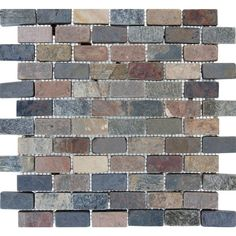 The rich, colorful look of natural stone enhances your room with this Mixed Slate Brick Mesh-Mounted Mosaic Floor and Wall Tile. It's easy to install and there are matching field tiles also available.