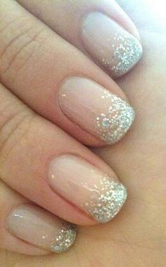 Love the sparkle - and that it's not overdone, just the right amount of shimmer. #WeddingNails