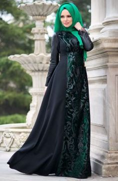 Muslima Wear Sultan Elbise 1601011 Zümrüt Yeşili