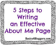 """Writing an About Me Page - """"To give first-time visitors a little more info about you, link to some of your favorite posts. This gives them a taste of your writing style as well as lets them get familiar with the topics you blog about."""" writing, writing ideas, creative writing ideas Blog Topics"""