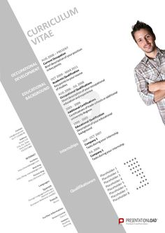 PowerPoint CV: Use our modern PowerPoint CV template in order to give your future employer an extensive but clear overview about yourself. The photo must be exchanged and the fields (occupational development, educational background, internships, qualifications, contact, internet, languages, further information) have to be filled with personal information. http://www.presentationload.com/job-application-template-bundle.html