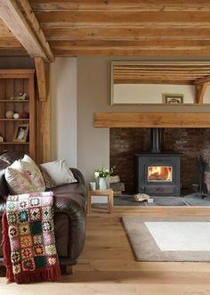 Border Oak - Cottage Interior with inglenook fireplace. Light wood, space of inglenook for a woodburner Country Fireplace, Inglenook Fireplace, Fireplaces, Simple Fireplace, Wood Burner Fireplace, Cottage Fireplace, Fireplace Hearth, Black Fireplace, Concrete Fireplace