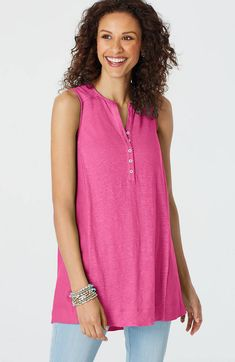 Image for Linen Mixed-Media Tunic from JJill Used Clothing, Mixed Media, Tunic Tops, Clothes For Women, Blouse, Style, Pink, Image, Fashion