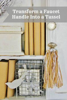 Transform a faucet handle into a burlap tassel - via Thistlewood Farms Burlap Projects, Burlap Crafts, Diy Craft Projects, Craft Ideas, Decor Ideas, Fun Ideas, Home Crafts, Easy Crafts, Diy Home Decor