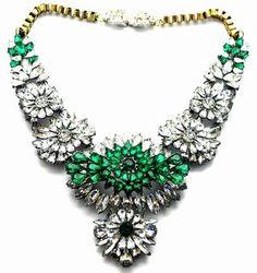 Maxi colar cristais verdes