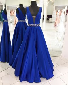 Elegant A-line Royal Blue Long Prom Dress Evening