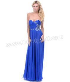 Royal Blue Chiffon Rhinestone Strapless Prom Dress