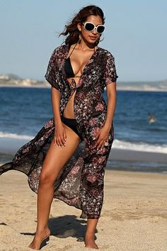 61f25deb6cf Encinitas - Paisley Beach Robe Fits up to size XL Slip it on for added  coverage