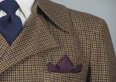 1960s Mens Fashion – Vintage Houndstooth Brown and Navy Tweed Wool Jacket…