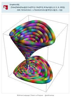 Graphics3D[{Tube[      Table[Exp@{t Cos[99 t], t Sin[99 t], # Sqrt@t}, {t,         0, .8, .002}], .068,       VertexColors -> RandomColor@402] & /@ {1, -1}}]