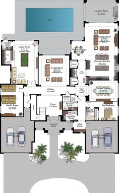 The Palazzo Plan in the Empire Collection at Seven Bridges in Delray Beach Florida 6 Bedroom House Plans, Family House Plans, New House Plans, Dream House Plans, House Floor Plans, Home Building Design, Home Design Floor Plans, Architectural Design House Plans, Dream Home Design