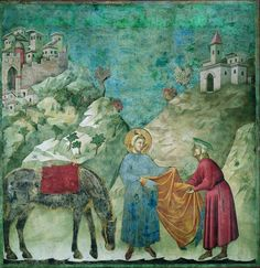 Giotto, « le Don du manteau »  « Le Don du manteau » (1297-1299). Une des fresques des Scènes de la vie de saint François (1296-1305) attribuées à Giotto. (Basilique San Francesco, église supérieure, Assise.)