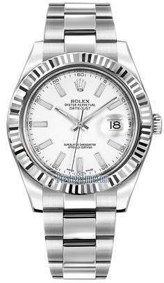 116334 White Index Rolex Oyster Perpetual Datejust II Mens Watch