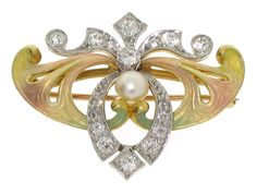 Antique Art Nouveau Enamel, Diamond and Natural Pearl Brooch/Pendant in 14K