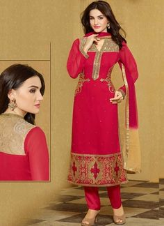Radiant Red Diamond Work Georgette Pakistani Palazzo Suit #salwarkameez #dresses #Suits  http://www.angelnx.com/Salwar-Kameez