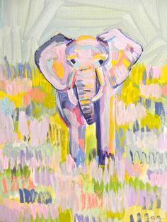 Theodore the Elephant, 11 x 14 Acrylic on Canvas, Evelyn Henson