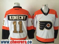 Men's Philadelphia Flyers #11 Travis Konecny White 50th Gold Stitched NHL 2016-17 Reebok Hockey Jersey