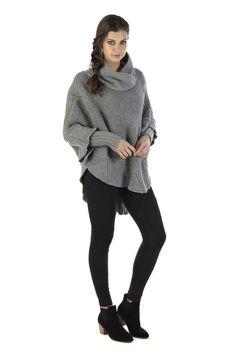 SCHWIING SCHWIING PONCHO MILLORD GRIS Nylons, Turtle Neck, Sweaters, Fashion, Gray, Wool, Fashion Ideas, Moda, Fashion Styles