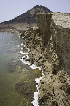 The shores of Lake Assal, the world's largest salt reserve in Djibouti, northeastern Africa.