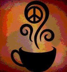 ☮ American Hippie Art ☮ Peace Sign .. Cofffee