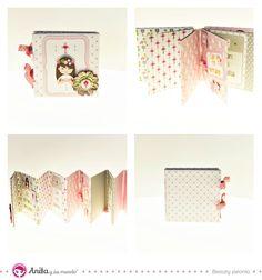 Manualidades para comuniones fáciles: mini album de recuerdos y fotos con papeles de Anita y su mundo scrapbooking