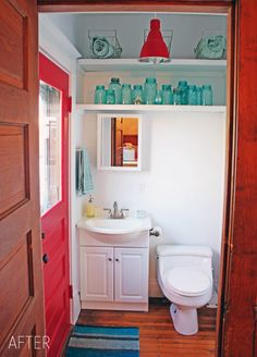 bathroom with red and turquoise