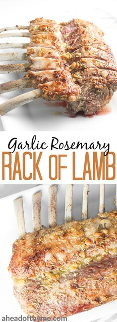 Ready in under 30 minutes, juicy and tender garlic rosemary rack of lamb is an exquisite dish bursting with incredible flavours in each and every bite. | aheadofthyme.com via @aheadofthyme