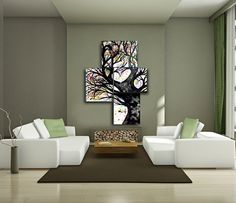 EXTRA LARGE Painting On Canvas of Heart Tree of Life -  Huge Modern Contemporary Colorful Abstract Oak Tree Silhouette Large Wall Art