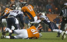 Patriots linebacker Jonathan Freeny sacks Broncos quarterback Brock Osweiler for a 12-yard loss to the Patriots 34-yard line, forcing the Broncos to punt during the first quarter Sunday, Nov. 29, 2015, at Sports Authority field at Mile High in Denver. (The Gazette, Christian Murdock)