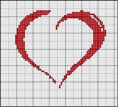 Resultado de imagem para corações em ponto cruz pequenos